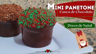 MINI PANETONE TRUFADO (CASCA DE CHOCOLATE) - DOCES DE NATAL