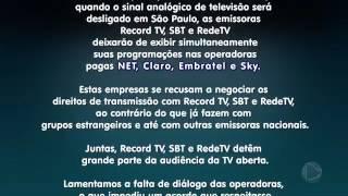 RecordTV comunica a sua saída da TV por assinatura junto com RedeTV e SBT