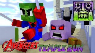 Monster School : AVENGERS COOL TEMPLE RUN CHALLENGE with CAPTAIN MARVEL! - Best Minecraft Animation