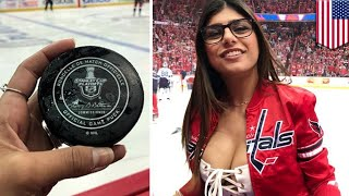 Mia Khalifa's bust implant deflates after hockey puck hit - TomoNews