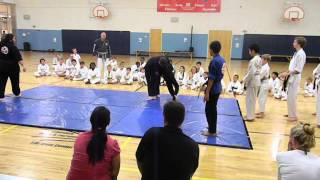 10 Year Old Black Belt Attacked - Fights Back At Kinney Karate Exam 2013