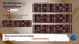 Blues exercise style Eric Clapton in G Guitar Backing Track with scales