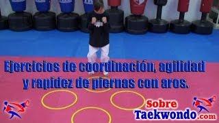 Ejercicios de coordinación, agilidad y rapidez de piernas con aros