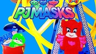 PJ MASKS TOYS ~ PJ MASKS EPISODE Gekko Catboy Owlette GO TO CARNIVAL RIDES Toys Parody