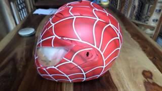Beginner airbrush spiderman helmet 1