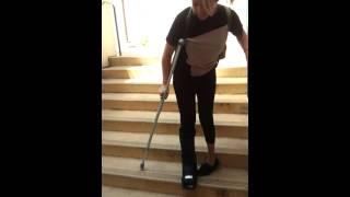 Katy on crutches