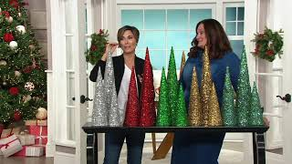 Set of 3 Graduated Sequined Cone Trees by Valerie on QVC