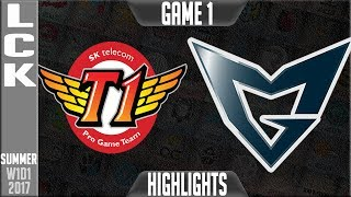 SKT vs SSG Highlights Game 1 - LCK Summer 2017 Highlights W1D2 - SKT T1 vs Samsung galaxy