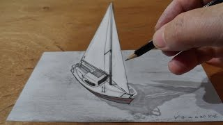 Drawing  Sailboat, 3D Trick Art on Paper