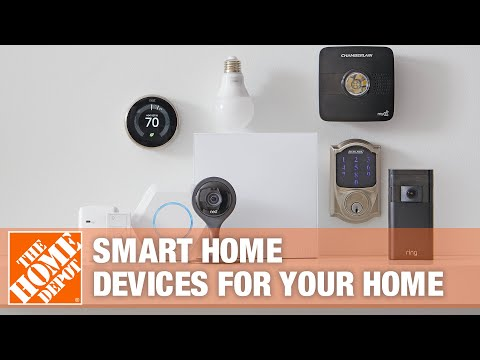 A Nest thermostat and a Google Home device on a white table.