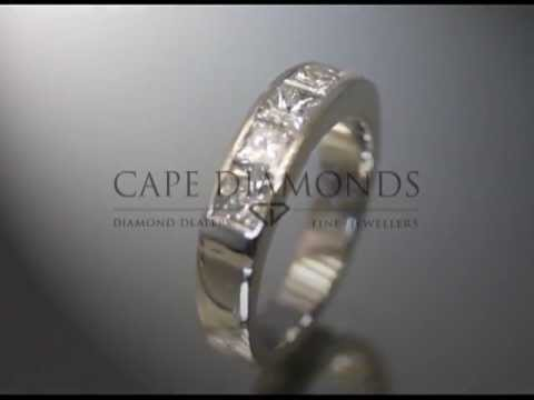 Eternity ring,5 small cushion shaped diamonds,platinum,engagement ring