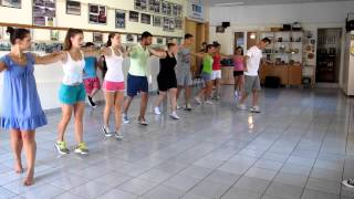 Corfu dancers rehearse the Zorba dance in Sinies