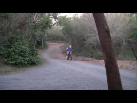 Carly rides his bike at family friendly Umkhumbi Lodge – Hluhluwe, South Africa