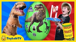 Fantastic Gymnastics Challenge w/GIANT T-REX Surprise Egg Toys Sour Candy Family Fun Games for Kids