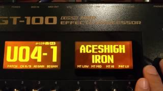 BOSS GT-100 - IRON MAIDEN - Aces High Tone Tutorial