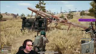 Muyskerm flipping truck on PUBG desert map