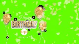 Happy birthday  Gold green screen effect HD