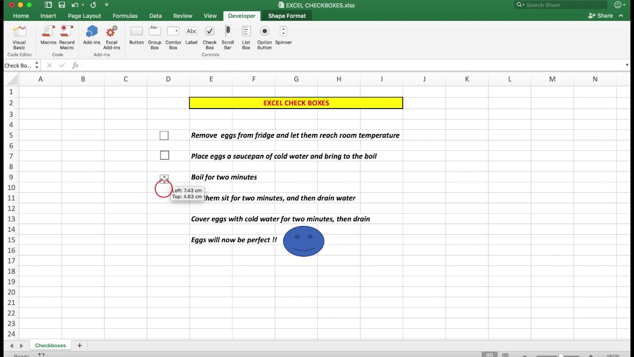 How to easily insert check (tick) boxes in Excel 2016 for Mac and Windows.