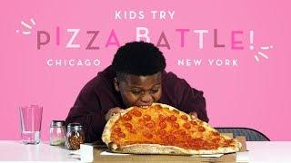 Kids Try Pizza Battle! New York Thin Crust vs. Chicago Deep Dish   Kids Try   HiHo Kids