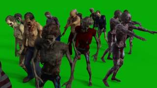 Greenscreen Footage - Zombie Group walking by