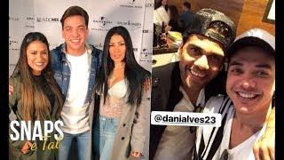Wesley Safadao com o jogador Daniel Alves e Simone e Simaria