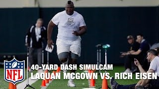 405-Pound Tight End LaQuan McGowan vs. Rich Eisen in 40-Yard Dash Simulcam Race | NFL