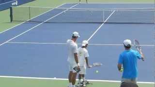 Novak Djokovic has fun with a fan (