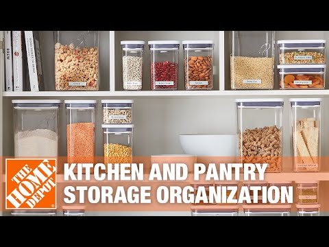 A video on creating a neatly organized pantry in a kitchen.