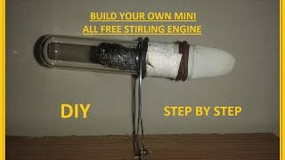 Build your own mini all free Stirling engine at 5 minutes - tutorial