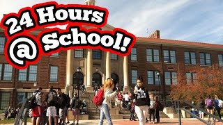 24 HOUR CHALLENGE AT SCHOOL! (ALMOST GOT CAUGHT) Crazy 24 Hour Overnight Challenge In School