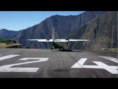 Dangerous Airport takeoff,Dornier 228-202,  Lukla, Tenzing Hillary Airport, Nepal