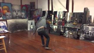 Percy Fortini-Wright Flipping out at his Open Studios at Mother Brook