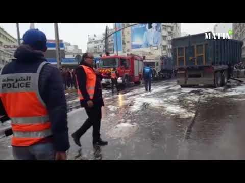 Video : Casablanca : Un camion entre en collision avec le tramway