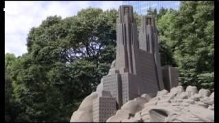 Giant sand Godzilla invades Tokyo park