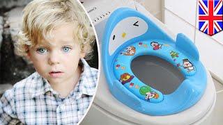 Little guy gets toilet seat stuck on his head - TomoNews