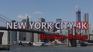 Ultra HD 4K New York City Travel Brooklyn Bridge Tourism Sightseeing Tourist UHD Video Stock Footage
