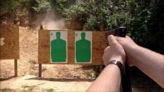 Zac shooting the Glock 21 with Kriss 30rd magazine extension.