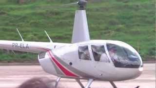 Gino e Geno chegando de helicoptero em Sericita/MG