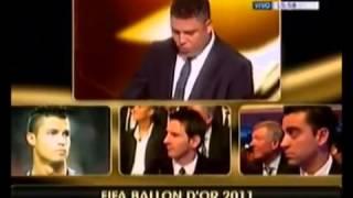 Messi ganando  los 4 balones de oro