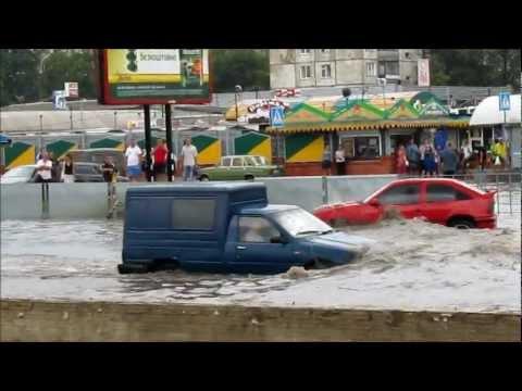 Сумы, ливень, потоп 16 июля 2012 / Ukraine, Sumy, flood shower 16 July 2012