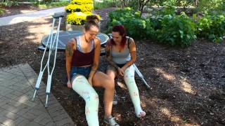 Two girls two broken legs