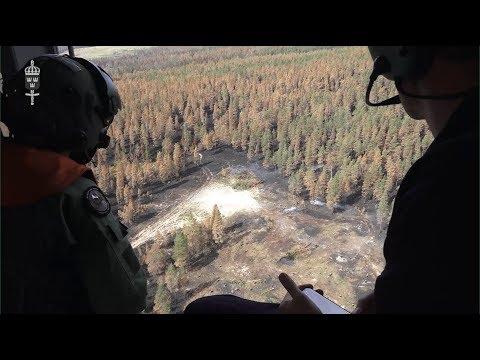 Bombfällning mot skogsbranden i Älvdalen