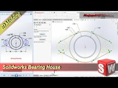 Solidworks Design 2D Bearing House Basic Modeling Tutorial