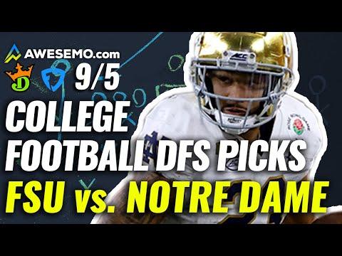 Week 1 CFB DFS Picks & PrizePicks Top College Football Plays   FSU vs. Notre Dame