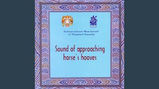 The sound of approaching horses' hooves