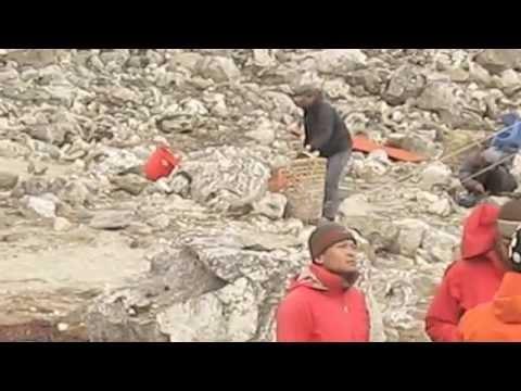 Exposed climbing up to Lobuche main summit
