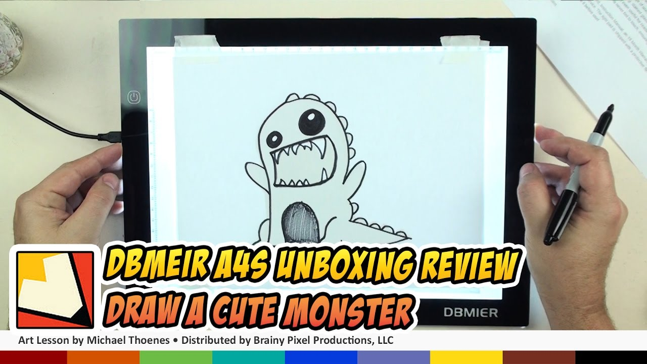 Dbmeir LED Lightbox A4S USB Unboxing Draw a Cute Monster | BP