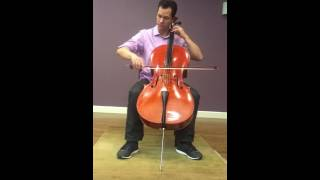 Colin demonstrates a 1996 Raymond Schryer cello at Blackerby Violin Shop