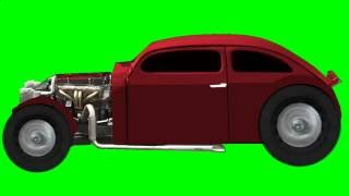 VOLKSWAGEN HOT ROD greenscreen  Wheels spin,   Audio