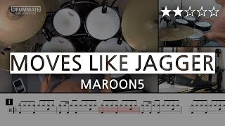 029 | Moves Like Jagger - Maroon 5  (★★☆☆☆) Drum Cover Score book Sheet Lessons Tutorial | DRUMMATE
